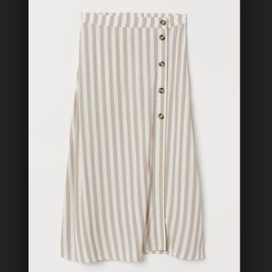 H&M High Waisted Button Stripe Midi Skirt
